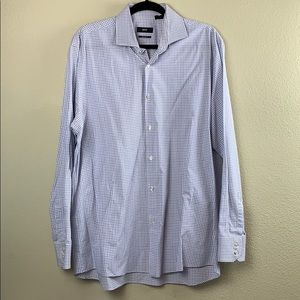 Hugo Boss men Blue White Button Dress Shirt 17